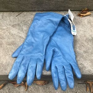 NWT Portolano Denim Blue Leather Gloves Size 8